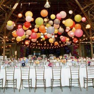 lámparas de papel globos de colores