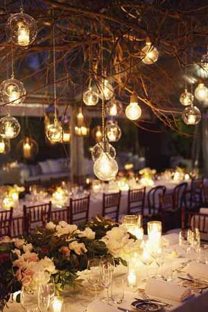 iluminación de boda bohemia chic