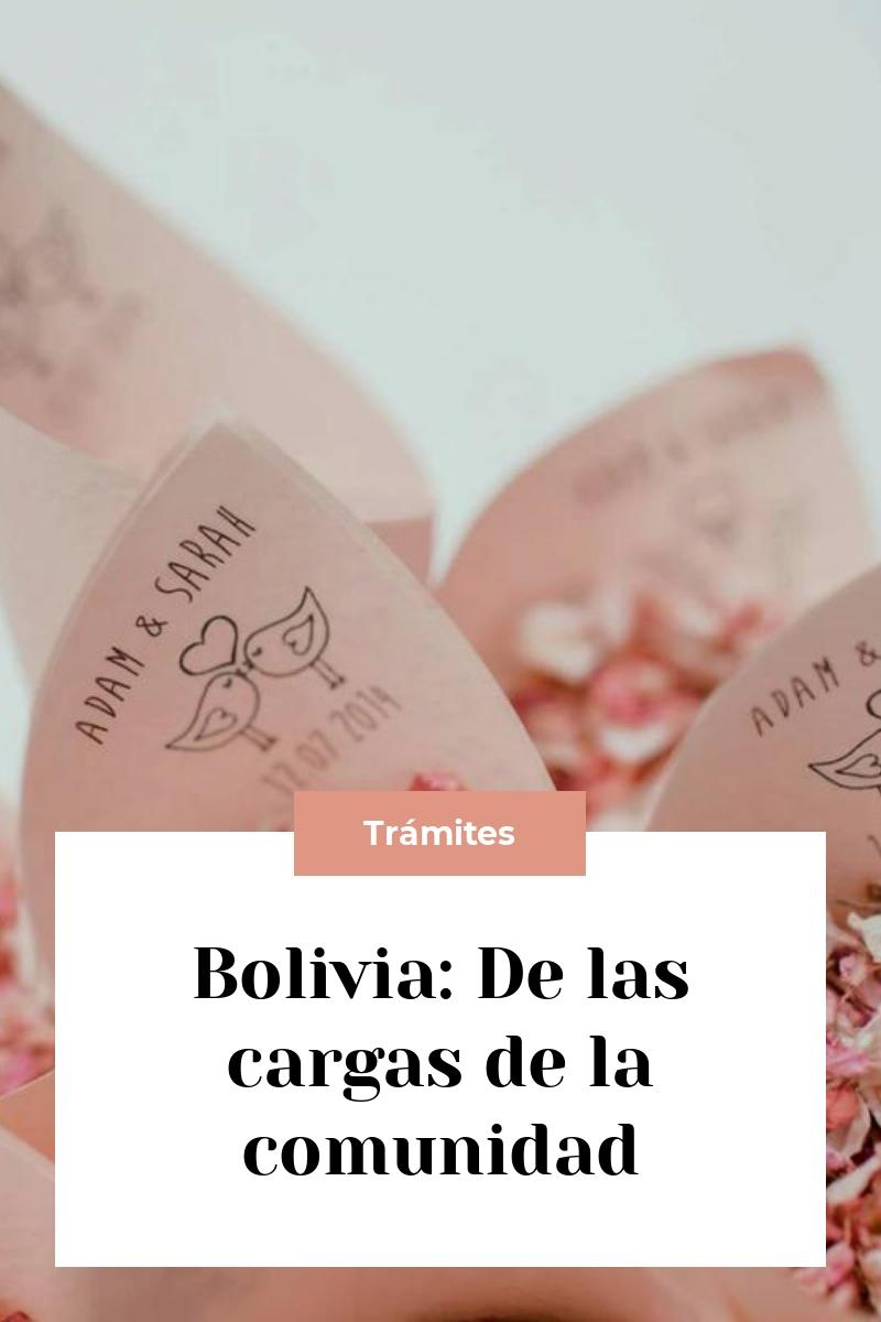 Bolivia: De las cargas de la comunidad