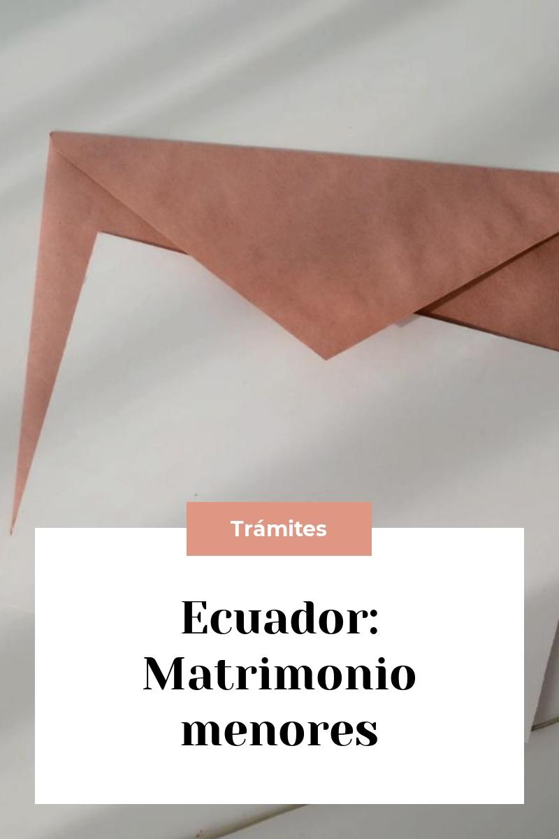 Ecuador: Matrimonio menores