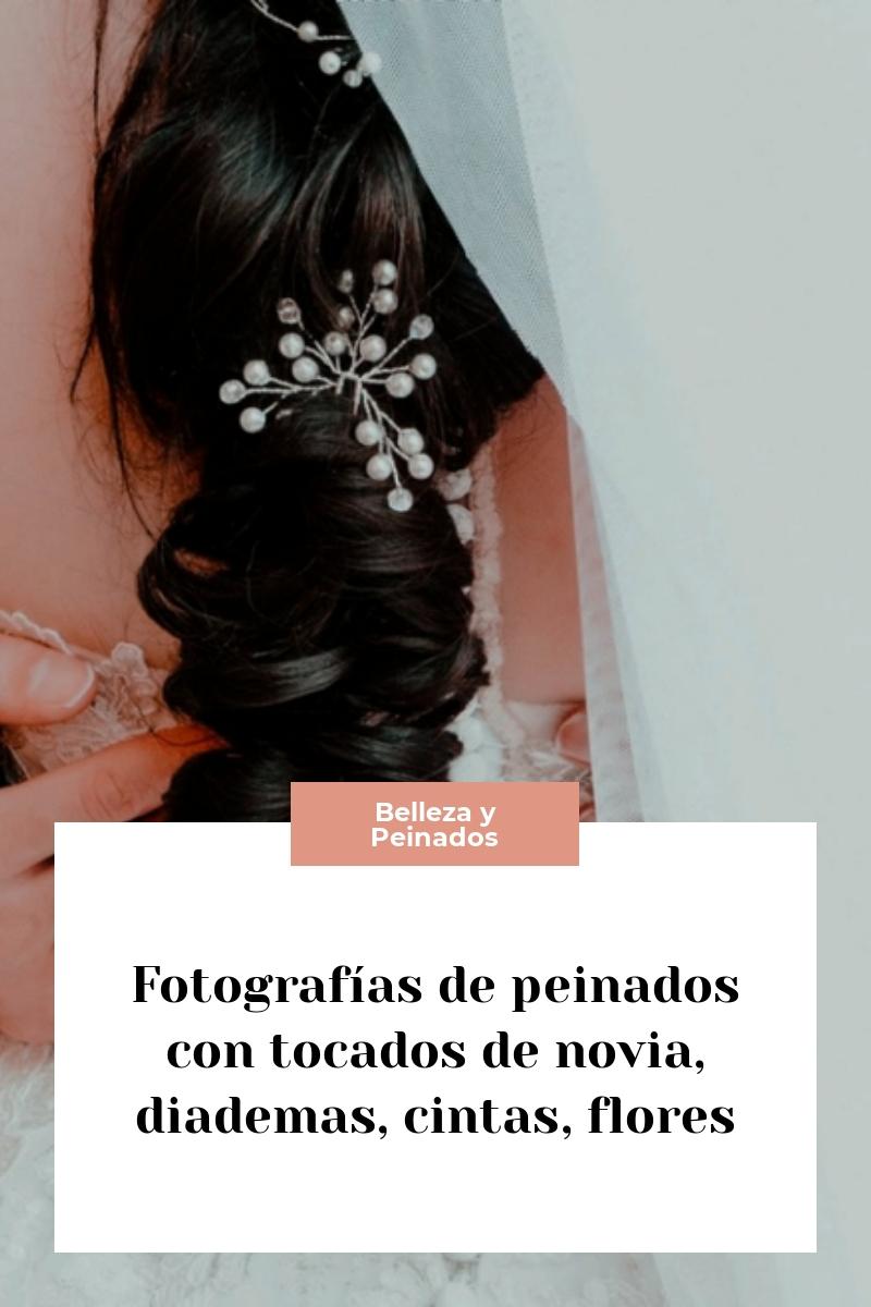 Fotografías de peinados con tocados de novia, diademas, cintas, flores