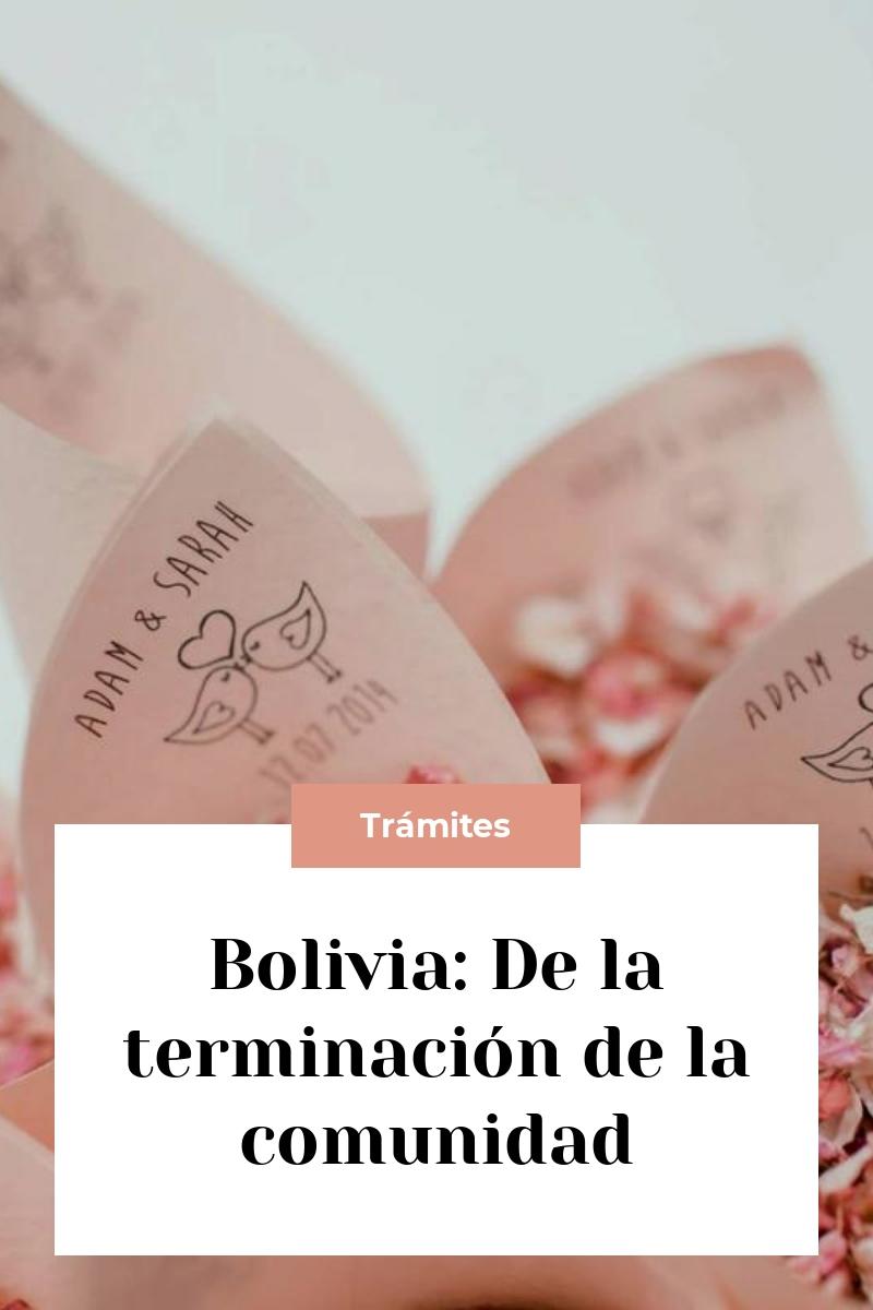 Bolivia: De la terminación de la comunidad