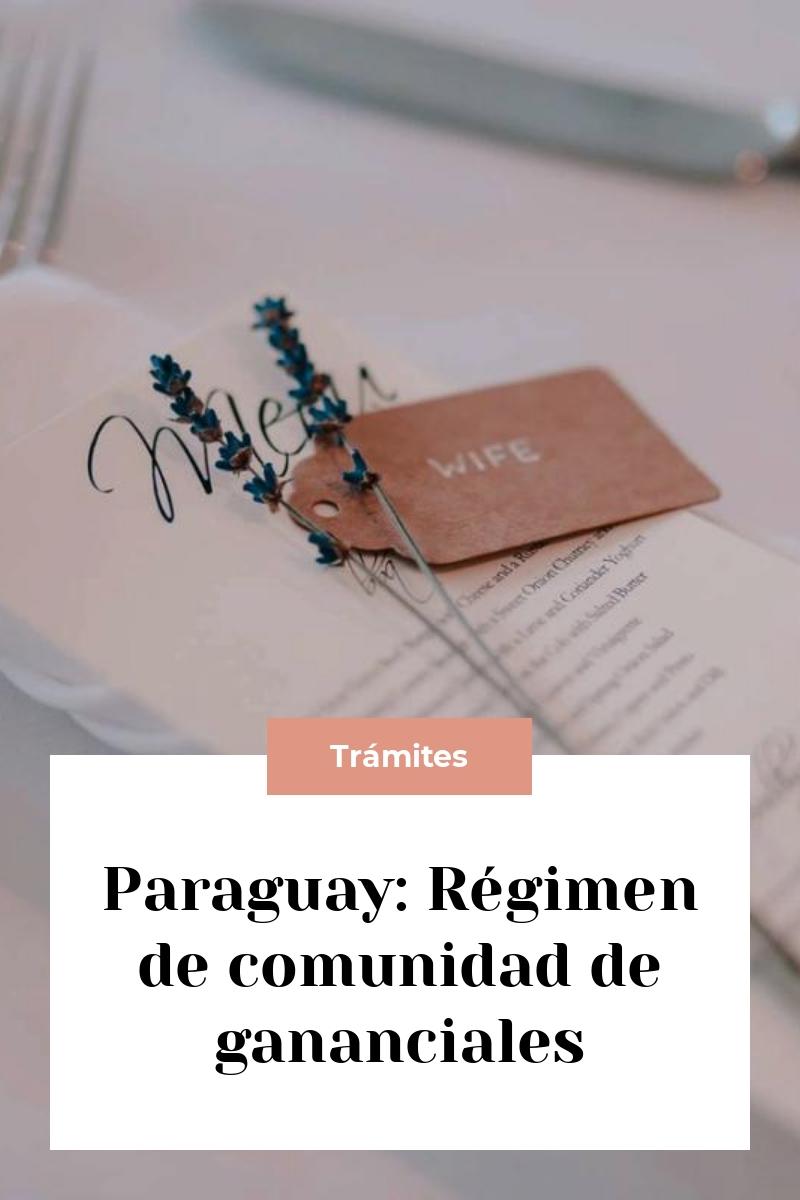 Paraguay: Régimen de comunidad de gananciales