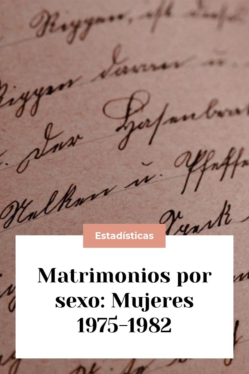 Matrimonios por sexo: Mujeres 1975-1982